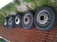 FORD TRANSIT MK7 WHEELS / TYRES X5 IDEAL FOR SPARES OR UPDATE MK6 BARGAIN £125