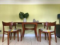 Solid Oak Retro Vintage G Plan E-Gomme Extendable Drop Leaf Dining Table and Chairs