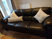3 & 2 seater chocolate brown genuine leather sofa