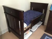 Boori English Oak cot/bed, bookshelf, dresser with changing table and toy box