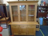 large M. s litchfeild oak sideboard with glassed top