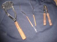 Stainless Steel Potato Masher, Serving Tongs and Nutcracker with Wooden Handles/Grips
