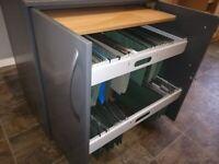 Home office filing cabinet cupboard PC desk locking sliding storage