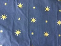 Pair of dark blue with gold stars curtains.