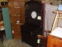 Lovely Priory Oak Plate Rack Back Sideboard Dresser