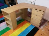 Corner desk with drawers - pine colour