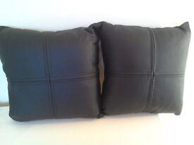 Four Black Luxury Leather Cushions