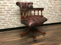 Oxblood Leather Captains Chair