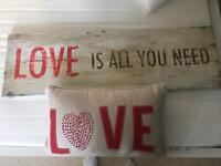 Love canvas and cushion