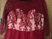 Chi chi London Bardot Berry Red Prom/Party dress