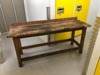 Vintage pitch pine workshop workbench