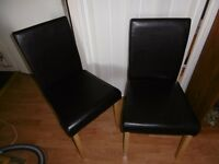Pair Black HOME FURNITURE DINING CHAIRS FAUX LEATHER