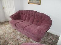 3 PIECE SUITE, IMMACULATE CONDITION, PATTERNED PINK/MULBERRY COLOUR