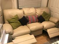 3 Seater and 2 Seater Cream Recliner Sofa