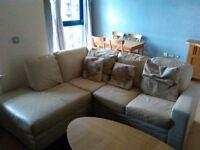 Leather corner sofa - cream