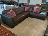 Large Brown Leather Corner sofa L Shape settee Deliv Poss