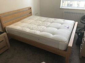 KING SIZE BEECH FRAMED BED & MATTRESS.