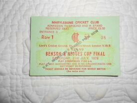 A Match Ticket for Essex's first trophy win in 1979 at Lords