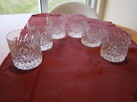 6 TYRONE CRYSTAL WHISKEY GLASSES