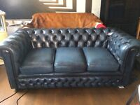 100% leather navy chesterfield sofa for sale