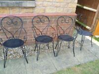 Set of 4 black metal garden chairs, stacking, nice con