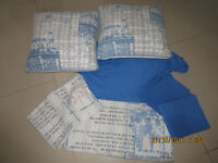 DOUBLE DUVET SET,DOUBLE FITTED SHEET & PILLOW CASES & 2 X CUSHIONS