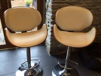 Cream & Wood Adjustable Bar Stools / Chairs, Set of 2