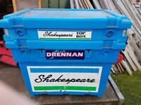 SHAKESPEARE SEAT BOX WITH EXTRA TOP SECTION AND ASSORTED TACKLE