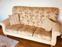 Traditional style 2 seater settee with 2 matching armchairs in autumn colour dralon fabric