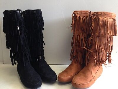 (Womens Suede Tassel Fringe Moccasin Boots Flat Layer Mid Calf In Blk or Camel)