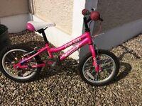 """Childs bike for Girl, Pink, Light aluminium, 16"""" size."""