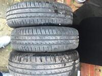3 continental 185/70/14 tyres Vauxhall corsa bargain