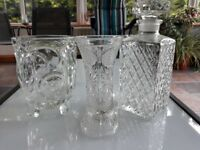 Cut glass decanter & vases