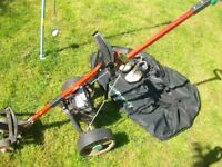 60 Various items include: Hillbilly Electric Golf Trolley+Battery+Charger+Bag+Shoes size 9, Clubs