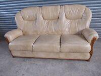 Cappucino Cream Italian Leather 3-1-1 Suite (Sofa)