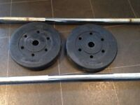 2 weight bars for sale with 5kg plates £20