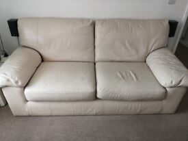 Cream natural leather 3 seater sofa Marks and Spencer