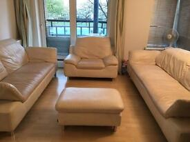 Genuine leather luxury 4 pieces sofa sets