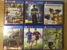 GTA 5, Uncharted 4, Overwatch, Fifa 17, Fifa 14, COD Advanced Warfare