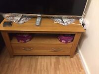 Solid oak tv stand table