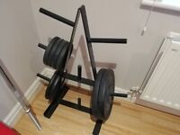 York Cast Iron Weights, full size bar and weights tree - 80kg - 2x20kg, 2x10kg, 4x5kg