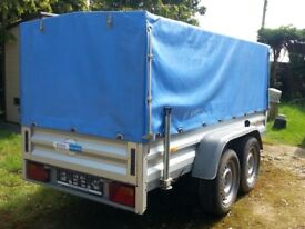 Exceptional German built covered, twin axle, fully braked trailer 2600kgs with ramps