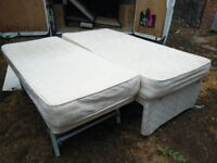 Single divan bed with trundle and mattresses