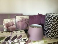 EX SHOWHOME CO-ORDINATING PURPLE / MAUVE BEDDING, CUSHIONS AND LAMPSHADES