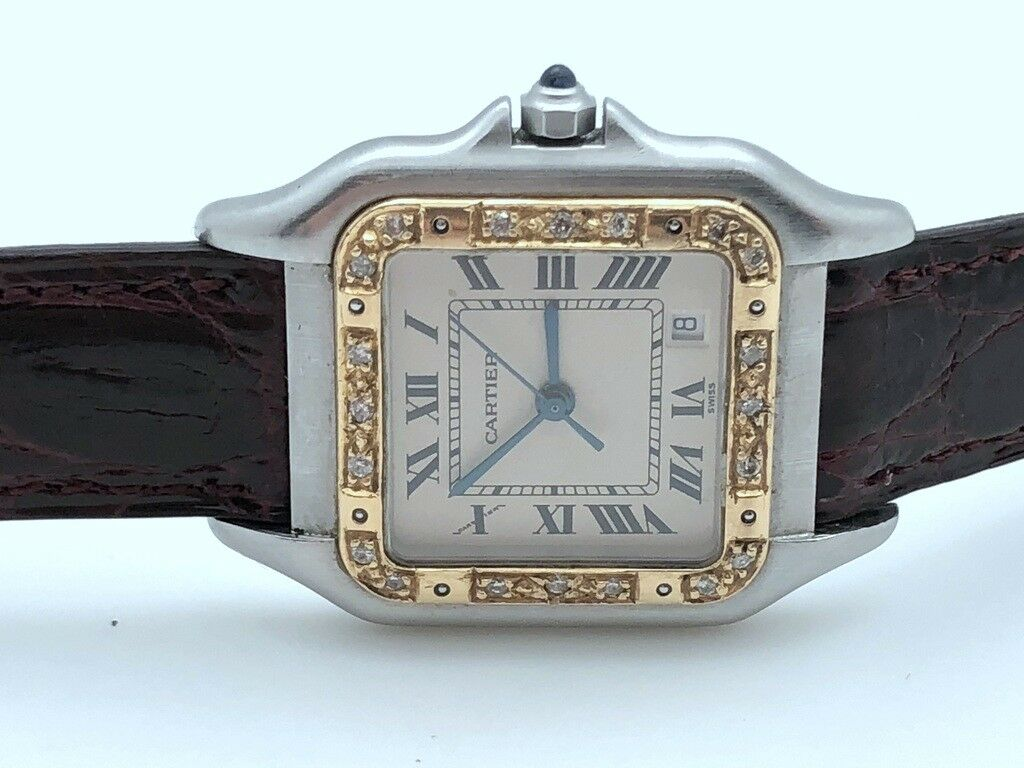 Cartier Tank 183949 STAINLESS STEEL 14K SOLID GOLD DIAMONDS BEZEL ORIGINAL BAND - watch picture 1