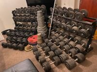 """Dumbbells , 1"""" & 2"""" plates & commercial gym equipment cable crossover full set rack"""
