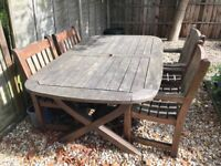 Pagoda Wooden Garden Furniture - 6 Chairs and Table