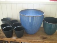 Blue and green glazed plastic plant pots, Ikea planters etc. Indoor/outdoor. £6 the lot.