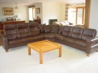 Ekornes Stressless Wave Brown Leather Recliner Large Corner Sofa