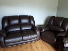 3,2 and 1 brown leather sofa. In good condition few slight marks